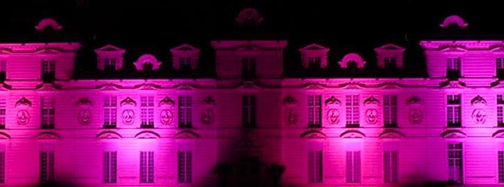 """Pour la quatrième année, la château de Cheverny a décidé de continuer d'apporter son soutien à l'opération """"octobre rose"""" en 2017. Vous pourrez ainsi admirer le château éclairé en rose les nuits du mois d'octobre.Le mois d'octobre est en effet le mois de mobilisation au dépistage du cancer du sein."""